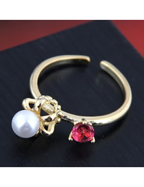 Fashion Golden Open Crown Ring With Pearl And Diamonds