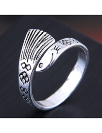 Fashion Silver Fish Relief Open Diamond Ring