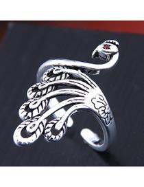 Fashion Silver Peacock Open Diamond Ring