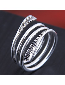 Fashion Silver Embossed Winding Open Ring