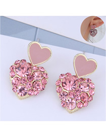 Fashion Pink Love Heart Stud Earrings With Diamonds
