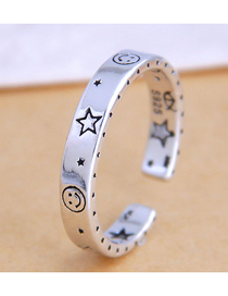 Fashion Silver Pentagram Smiley Alloy Open Ring