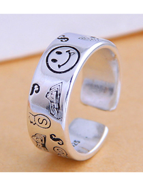 Fashion Silver Smiley Currency Wide Brim Open Ring