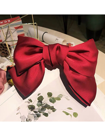Fashion Red Large Bow Spring Hairpin