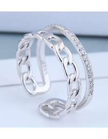 Fashion Silver Braided Zircon Braided Chain Open Ring