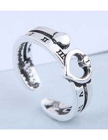 Fashion Silver Letter Openwork Heart Open Ring