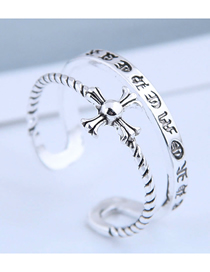 Fashion Silver Embossed Open Cross Ring