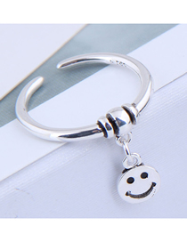Fashion Silver Beaded Smiley Face Open Thin Edge Ring