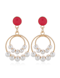 Fashion Red Drip Oil Stud Earrings With Pearl Alloy Geometry