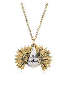 Fashion Golden Alphabet Sunflower Beetle Alloy Necklace