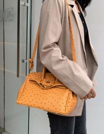 Fashion Yellow Ostrich Pattern Portable Slung Shoulder Bag