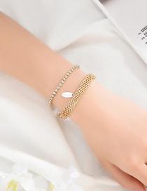 Fashion Gold Diamond Chain Crystal Bead Double Bracelet