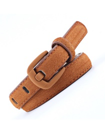 Fashion Camel Wide Needle Spray Buckle Rich Velvet Belt