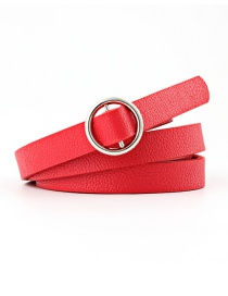 Fashion Red Double Fabric Small Round Buckle Knotted Thin Belt