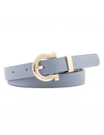 Fashion Denim Blue Alloy Buckle Thin Belt