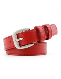 Fashion Red Alloy Buckle Thin Belt
