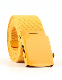 Fashion Yellow Canvas Woven Smooth Buckle Belt