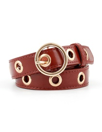 Fashion Red-brown Round Buckle Hollow Out Air Eye Belt