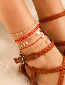 Fashion Gold Wire Rope Bead Alloy Heart-shaped Diamond Round Piece Anklet 5 Sets