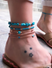 Fashion Gold Turquoise Rice Beads Chain Eye Anklet 5 Sets