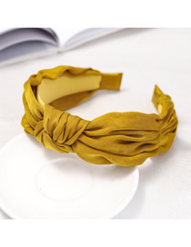Fashion Yellow Knot Headband Fabric Wide-brimmed Headband