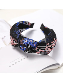 Fashion Royal Blue + Pink Embroidered Black Mesh Headband Mesh Embroidery Headband