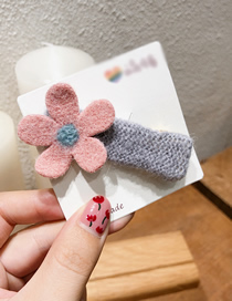 Fashion Pink Flowers Contrast Felt Flowers: Plush Hair Clips
