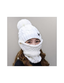 Fashion Milky White Thick Knit Mask Windproof Collar Earmuffs Wool Cap