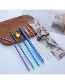 Fashion A Simple Tree Bag 7-piece Set 304 Stainless Steel Straw Set (10 Pieces)