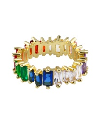 Fashion 6th Color Crystal Rainbow Diamond Ring