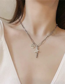 Fashion Silver Pentagram Smiley Star Necklace