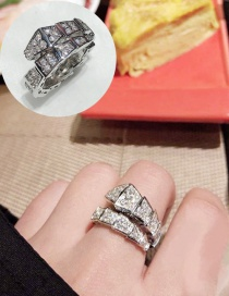 Fashion Silver Snake-shaped Micro-encrusted Diamond Ring