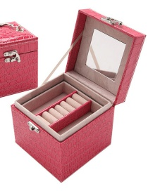 Fashion Rose Red Portable Crocodile Leather Three-layer Jewelry Box