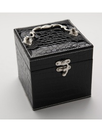 Fashion Black Portable Crocodile Leather Three-layer Jewelry Box