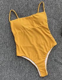 Fashion Yellow Open Back One-piece Swimsuit