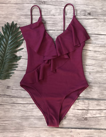 Fashion Red Wine Ruffled One-piece Swimsuit