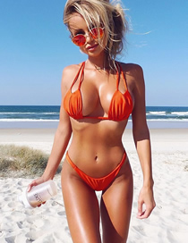 Fashion Orange Triangle Swimsuit Split