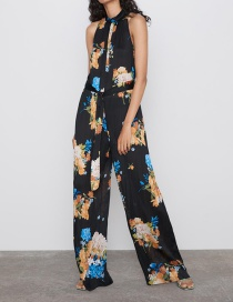 Fashion Black Flower Print Jumpsuit