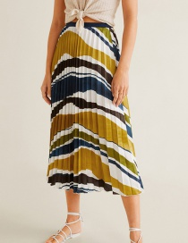 Fashion Color Satin Elastic Waist And Striped Printed Pleated Skirt