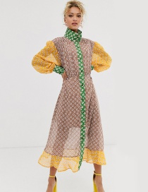 Fashion Color Printed Lantern Sleeve Color Ruffled Tulle Dress