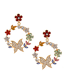 Fashion Color Alloy Diamond Round Branch Butterfly Stud Earrings
