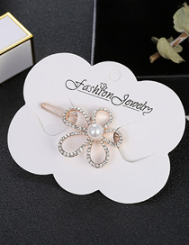 Fashion Gold Pearl Bow With Diamond Hair Clips
