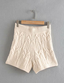 Fashion Creamy-white Solid Color Eight-strand Knitted A-line Shorts