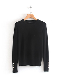 Fashion Black Solid Color Round Neck Long Sleeve Sweater