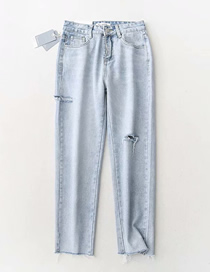 Fashion Light Blue Washed Side Cut Nine Points Of Raw Jeans