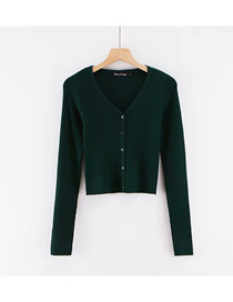 Fashion Dark Green Solid Color Large V Five Button Knit T-shirt