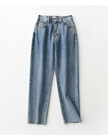 Fashion Jean Blue Washed Elastic Waist High Waist Denim Carrot Pants
