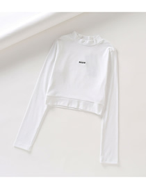 Fashion White Half-high Collar Letter Embroidered Navel Short T-shirt