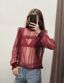 Fashion Red Wine Lace Stitching Perspective Shirt