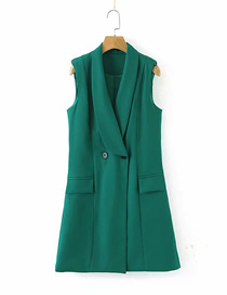 Fashion Green Solid Color Double Breasted Vest